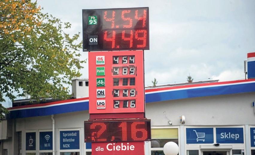 Czwartek, cennik na stacji paliw MZK w Koszalinie. Niby tanio, ale w porównaniu do Słupska, nawet 20 groszy drożej...