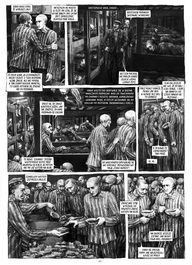 """""""Szczęściarz z rocznika 1917"""". Czarno-białe ilustracje, naśladujące stare przedwojenne rysunki  pozwalają ukazać świat lagru bez epatowania okrucieństwem. Brak koloru pozwala znieść widoki stosów trupów, wycieńczonych cieni w pasiakach, szubienic…"""
