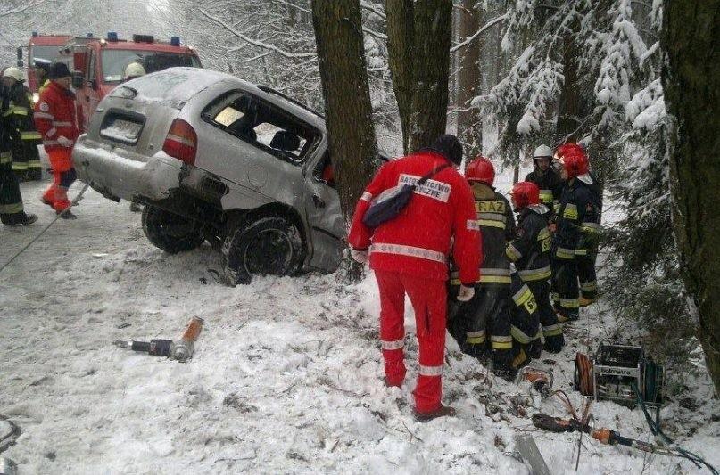 Ford wpadł w poślizg i uderzył w drzewo.