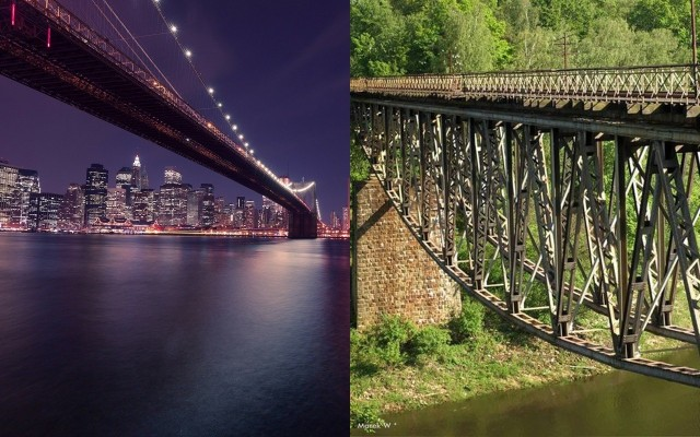 """Plany wysadzenia dla celów produkcji filmowej starego mostu kolejowego nad Jeziorem Pilchowickim koło Wlenia. Bezpartyjni Samorządowcy mają pomysł racjonalizatorski pod hasłem """"Ten sobie wysadź!"""" I wskazują na… słynny Most Brookliński w Nowym Jorku."""