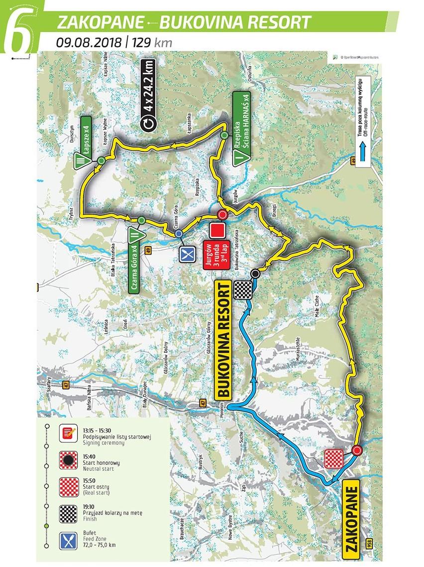 Tour de Pologne 2018: Etap 6 Zakopane - Bukovina: Resort Tutaj już nie ma mowy o płaskim terenie lub górkach. Tutaj liczy się już tylko siła i wytrzymałość, ponieważ oprócz przeciwnika trzeba również pokonać Tatry. Zobacz Tour de Pologne 2018: Etap 6 Zakopane - Bukovina Resort 129 km TRASA + MAPY + UTRUDNIENIA