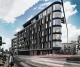 """Łódź będzie miała swoje """"Żelazko"""". Rozpoczyna się budowa apartamentowca w formie klina. WIZUALIZACJE"""