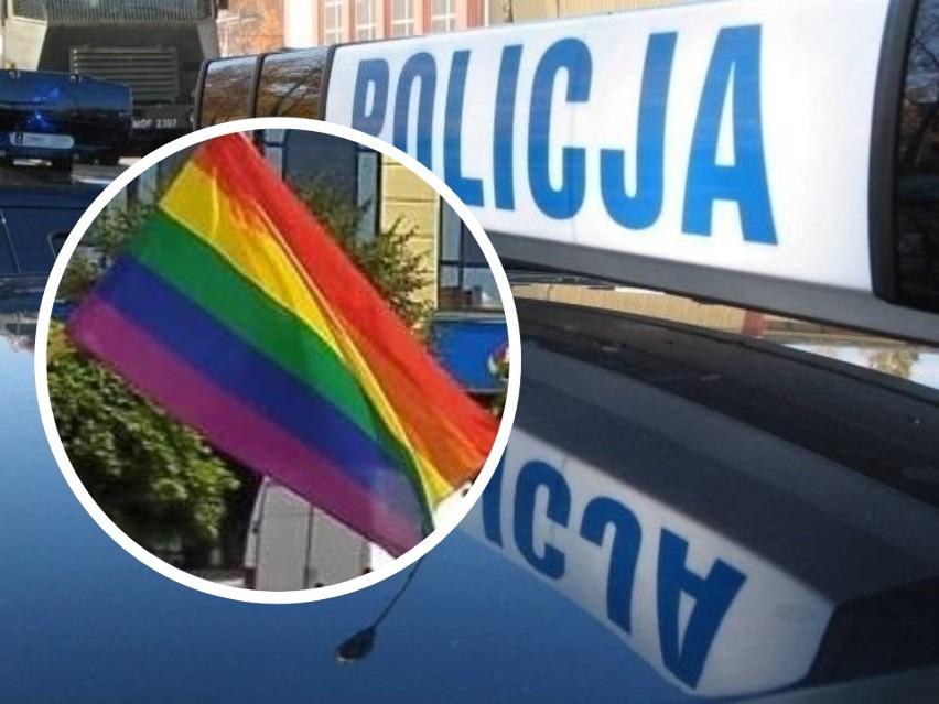 Policjanci z Grudziądza ujęli 16-latka, który wyrwał flagę LGBT i uciekł. Przyznał się do kradzieży