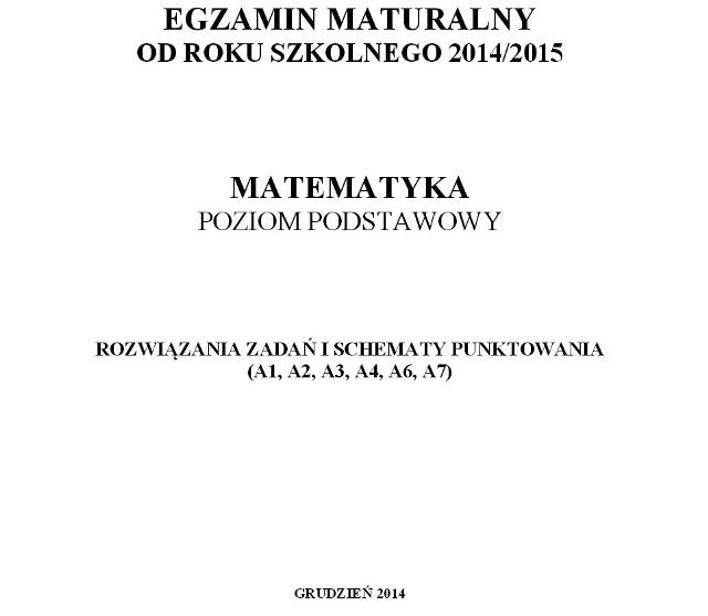 Próbna matura 2014 z matematyki - klucz odpowiedzi CKE matura 2015