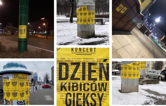 8.04.2021 r. Prowokacyjny plakat kibiców Ruchu Chorzów z Katowic.