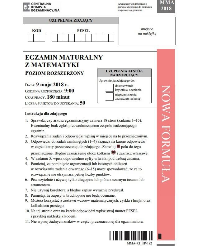 Matura 2019. MATEMATYKA Arkusze CKE. Poziom rozszerzony, ODPOWIEDZI, rozwiązania. Rozszerzona matematyka 9 maja 2019