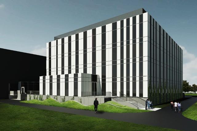 Konstrukcja nowego budynku będzie żelbetonowa. Ciemniejsze elementy (pionowe pasy) widoczne na wizualizacji to przeszklenia.