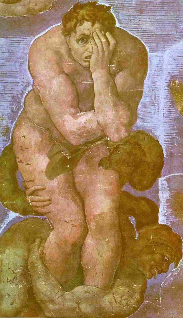 """Kaplica Sykstyńska. Michał Anioł """"Sąd ostateczny"""" - fragment fresku."""