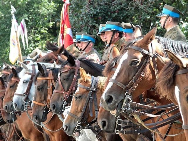 Grupa rekonstrukcyjna 18 Pułku Ułanów z Grudziądza podczas zjazdu kawalerzystów