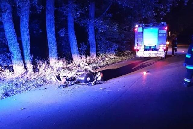 Wypadek pijanego motocyklisty w miejscowości Zabiele