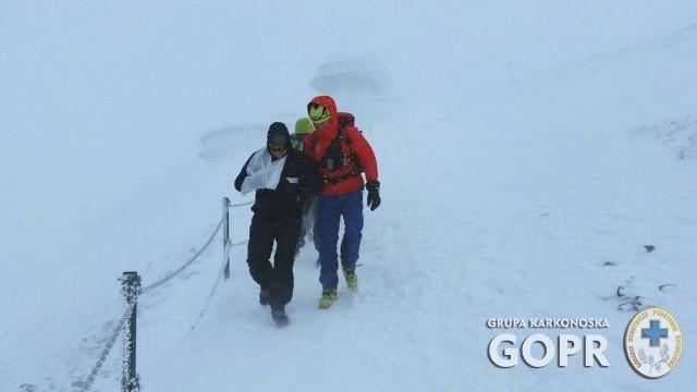 Akcja GOPR-u na zboczach Śnieżki