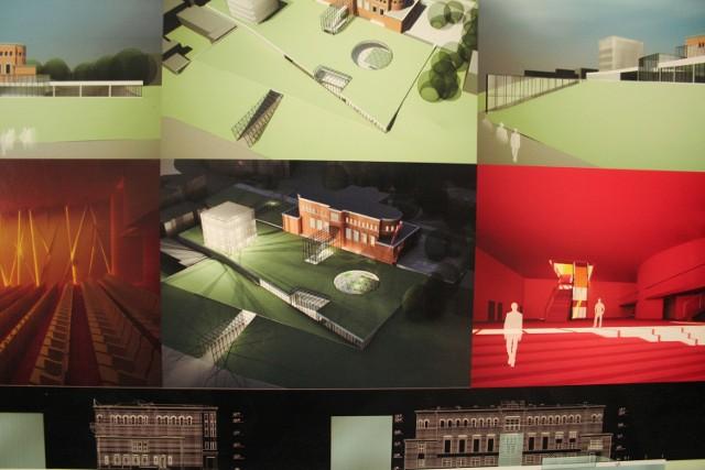 Fragment koncepcji nowego teatru. Trzech nowych scen nie widać, bo są pod ziemią na głębokości do 15 m. Dojrzeć można jedynei dachy, w tym ten okrągły, wieńczący scenę Teatru Szekspirowskiego.