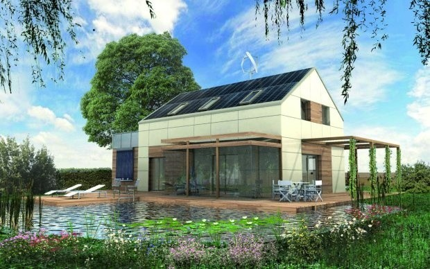 Autonomiczny domAutonomiczny dom na południowej połaci dachu ma umie-szczone solary, przed nim znajduje się staw z oczyszczonej wody, pełni on także funkcję doświetlającą.