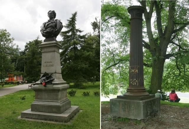 Pomnik Kornela Ujejskiego (z lewej) od strony Bramy Portowej jest odnowiony, od strony kościola wymaga wielu zabiegów konserwatorskich. Niewielu szczecinian wie skąd na przyszpitalnym wzgórzu pojawila sie antyczna kolumna. Warto, by powrócilo na nią popiersie Napoleona Bonaparte.