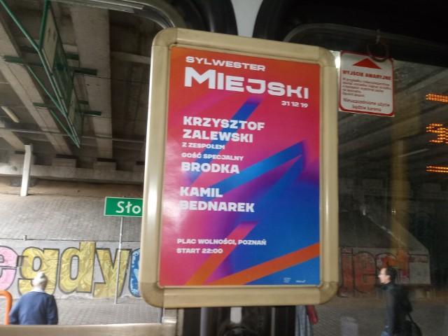 W tramwajach MPK Poznań już pojawiły się plakaty zapowiadające Sylwestra Miejskiego 2019/2020 w Poznaniu.