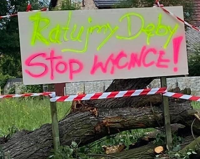 Mieszkańcy w piątek, 2 lipca ustawili na drzewach banery protestacyjne. Potem zobaczyli je na zdjęciach dołączonych do zgody ornitologów na wycinkę drzew
