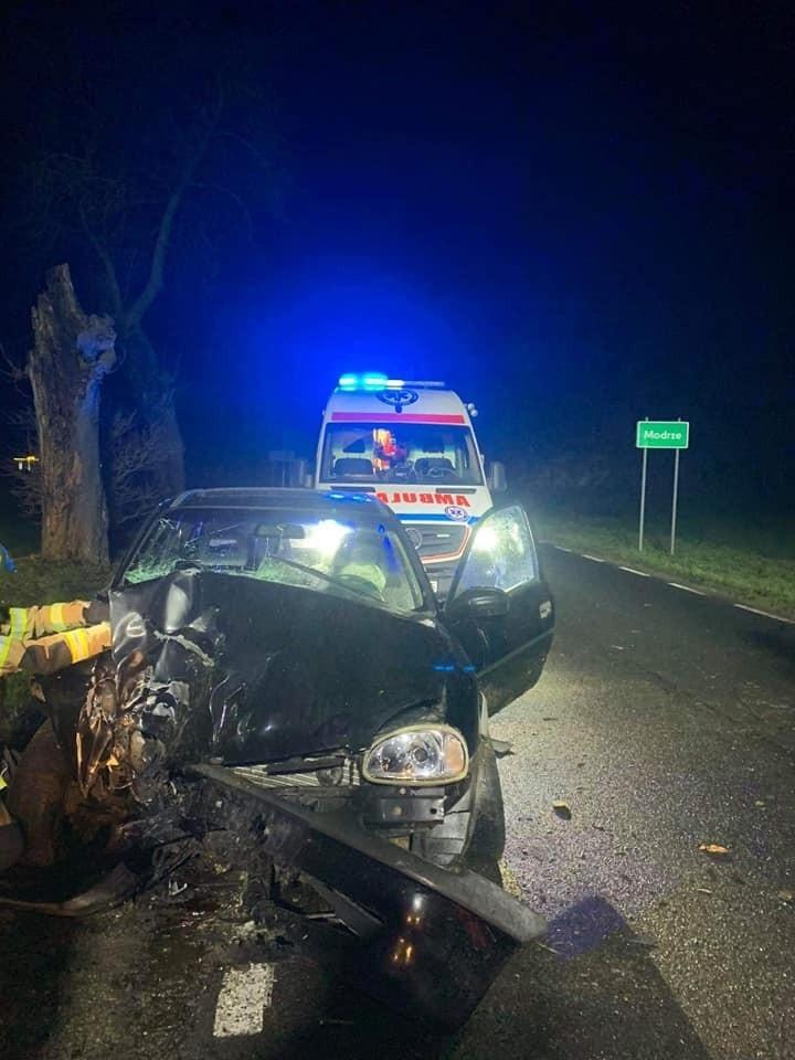 Do wypadku doszło we wsi Modrze. Samochód uderzył w drzewo.