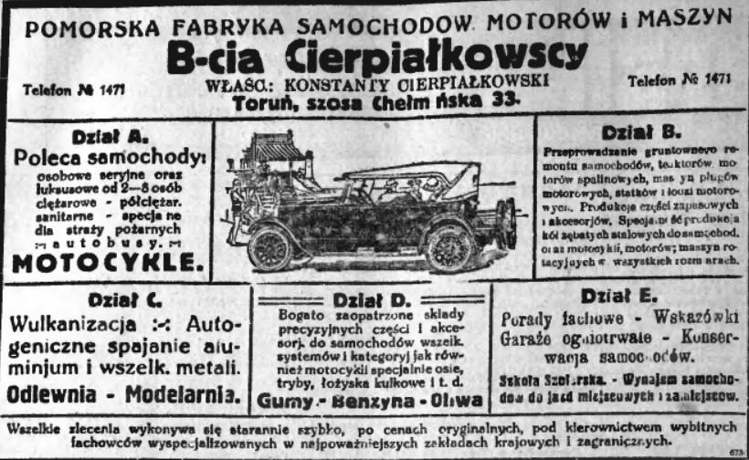 Reklama z 1925 roku. Rozkład działów pasuje do układu...