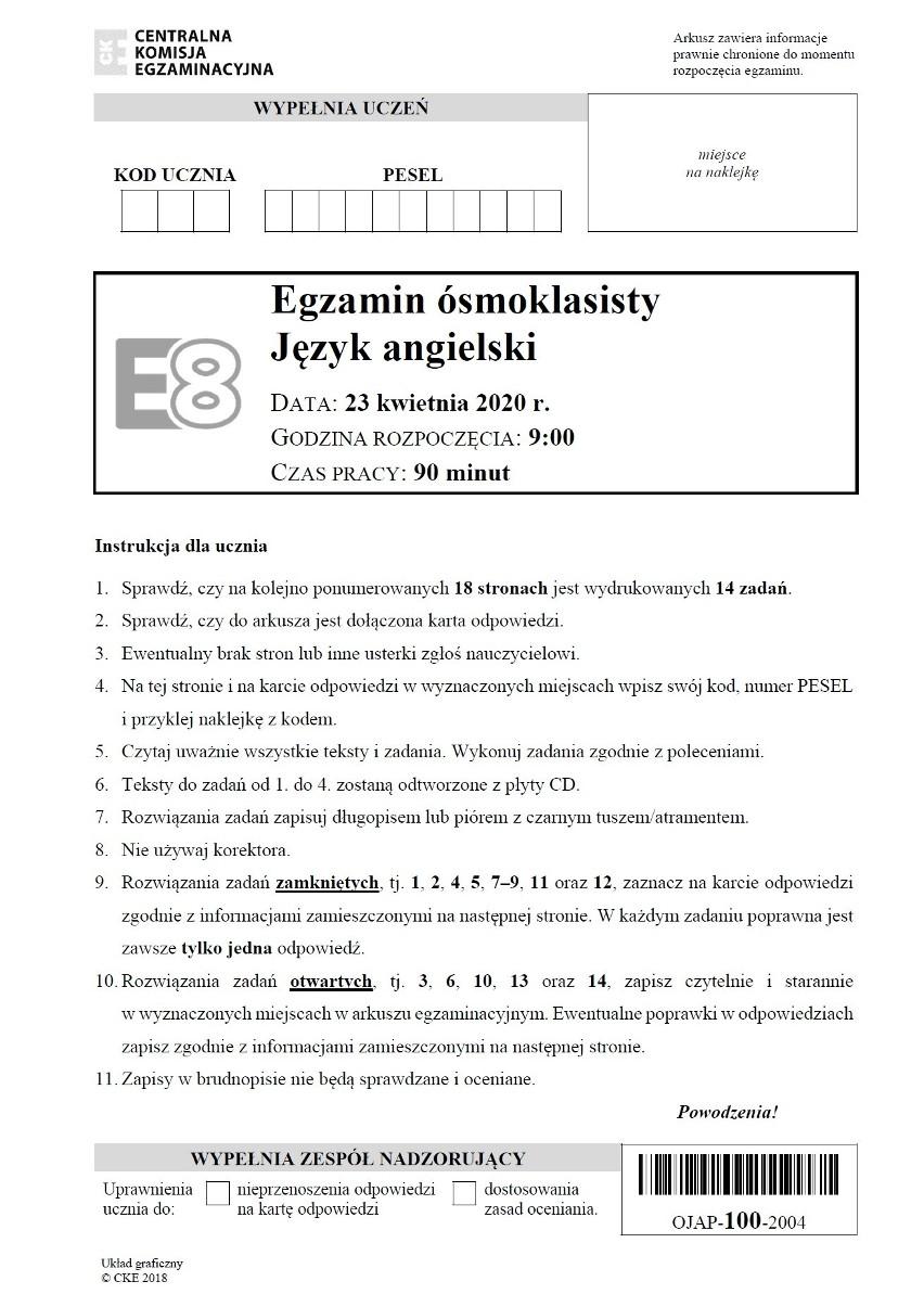 Odpowiedzi do testu z angielskiego - sprawdź po godz. 13 >>>