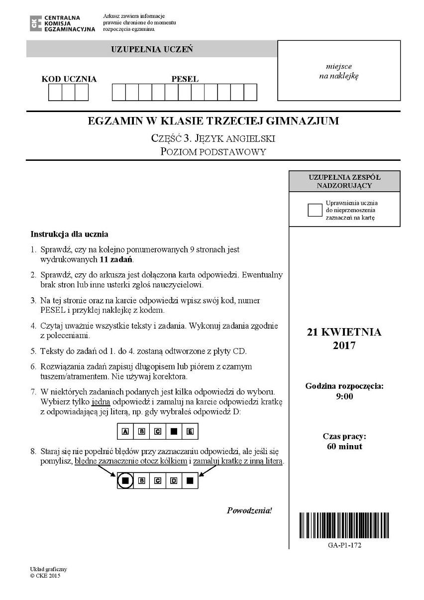Angielski egzamin gimnazjalny 2017 poziom podstawowy