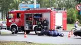 Wypadek na al. Jana Pawła II. Bus zderzył się z motocyklem [zdjęcia]
