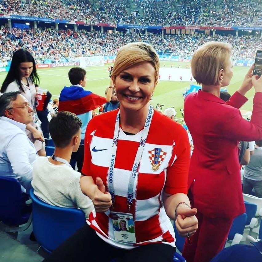 Prezydent Chorwacji Kolinda Grabar-Kitarović na mundialu w...