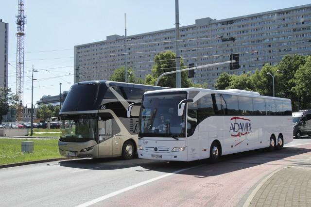 Protest przewoźników autokarowych w Katowicach