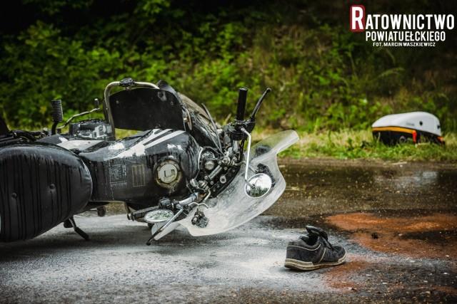 Wypadek motocyklisty w Starych Juchach
