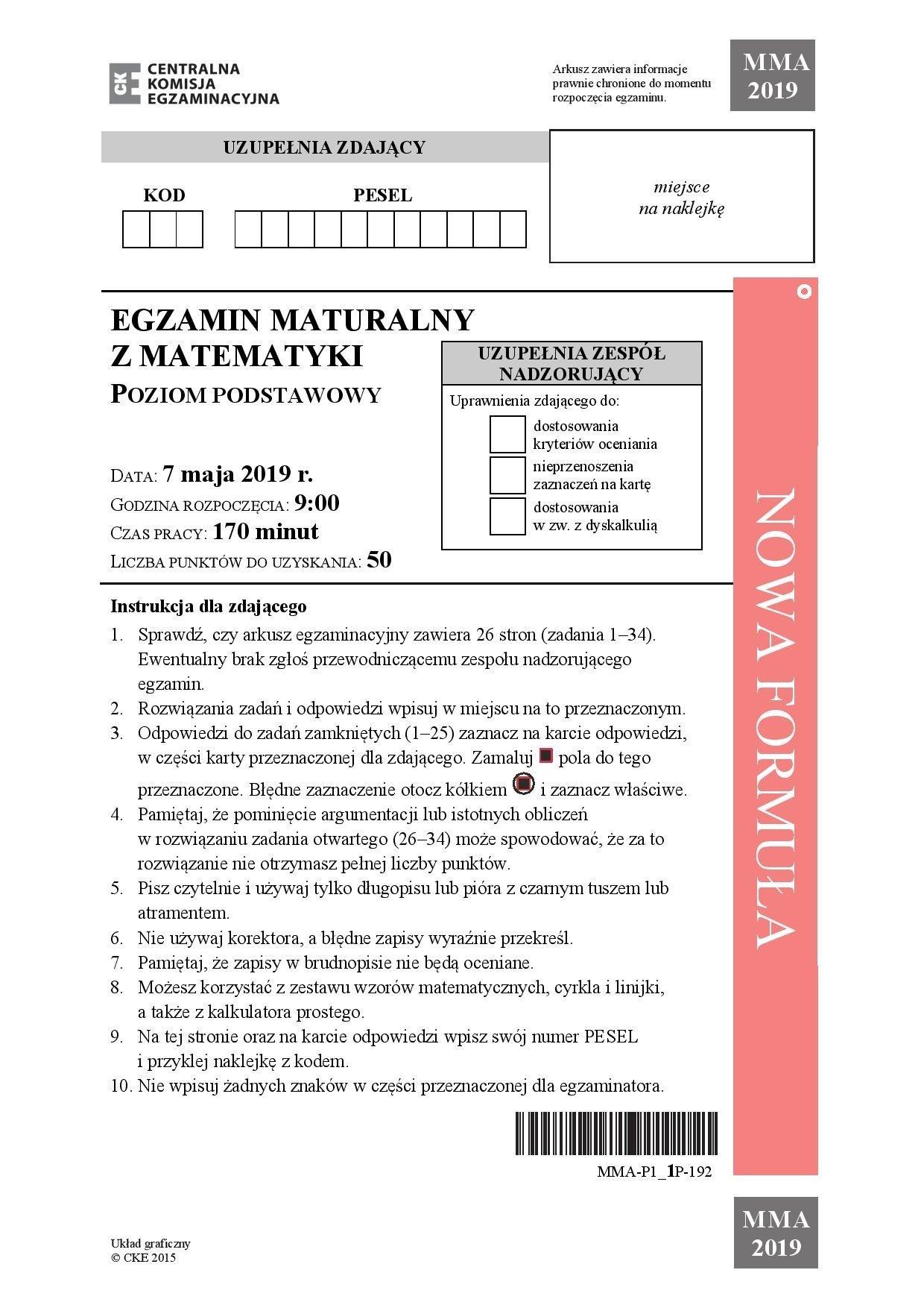 klucz odpowiedzi matura 2021 matematyka