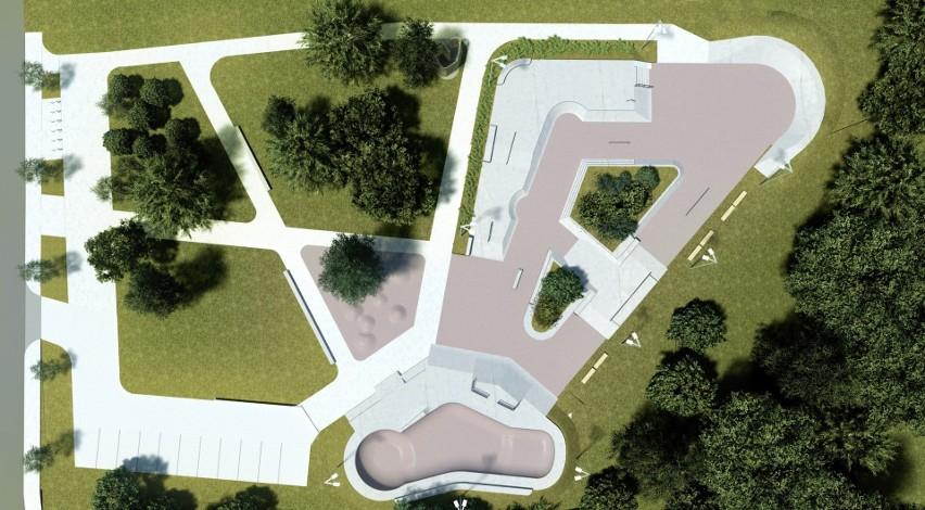 Poglądowa koncepcja skateparku na Majowym.