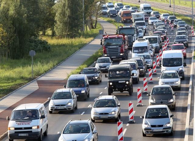 Zakorkowany Szczecin wskutek inwestycji drogowych, czerwiec 2021
