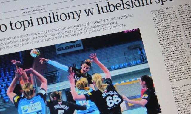 """Artykuł """"Miasto topi miliony w lubelskim sporcie. A sukcesy skromne"""" ukazał się w papierowym wydaniu Kuriera 20 listopada"""
