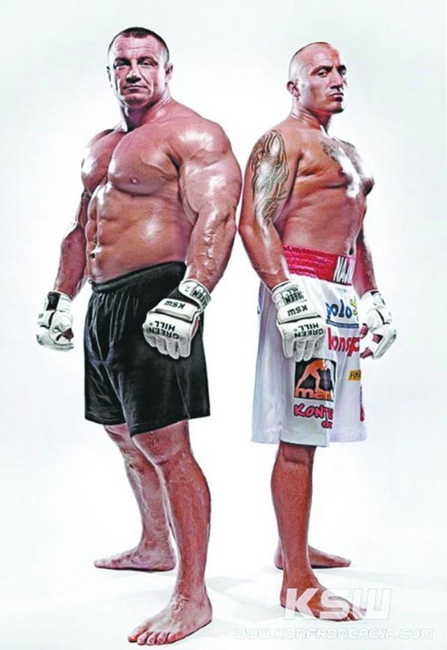 Mistrz świata strongmanów Mariusz Pudzianowski (z lewej) i zawodowy pięściarz Marcin Najman powalczą dziś w formule MMA
