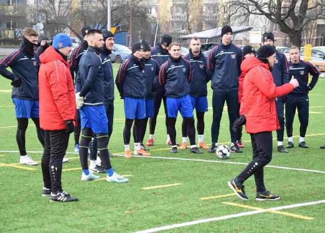 Pierwszy trening Odry na boisku w 2021 roku.