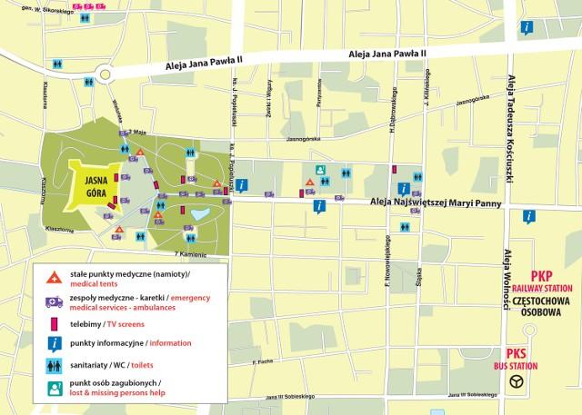 Mapka rozmieszczenia punktów medycznych, informacyjnych, telebimów i sanitariatów w centrum Częstochowy w dniu wizyty papieża Franciszka (28 lipca)