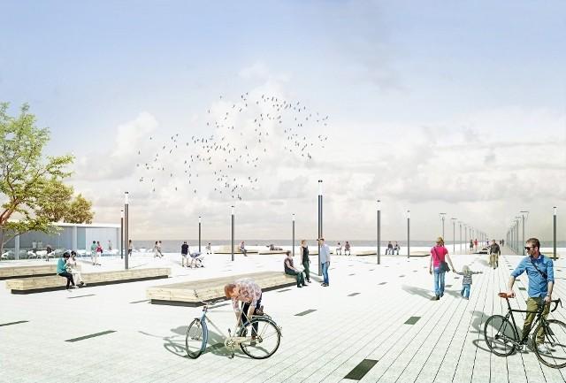 Wizualizacja okolic molo autorstwa Pawła Skóry. Przyszły projekt będzie musiał się opierać na jej założeniach