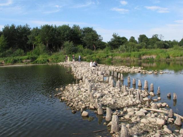 Gdy w rzece Bug poziom wody jest niski, widać nasyp w miejscu po dawne przeprawie. Jest szansa, że niebawem wzniesie się tam nowy most.