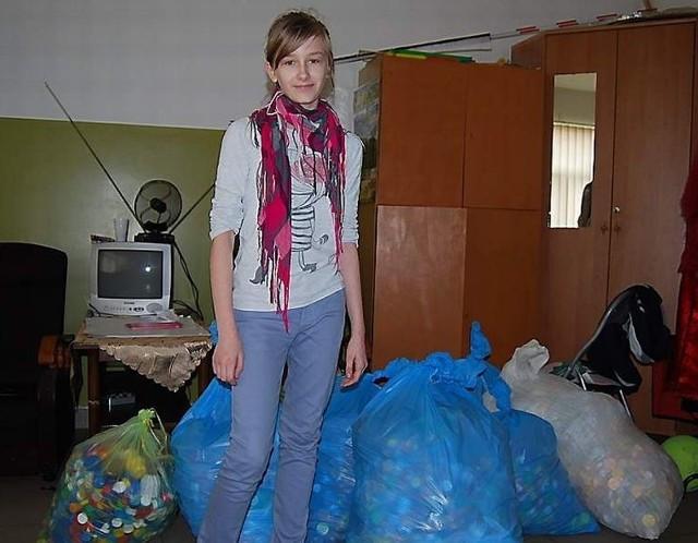 Mrysia Hein zebrała największa ilość plastikowych nakrętek dla chorej Martynki Grabowskiej