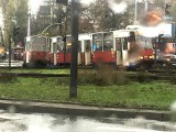Tramwaj wypadł z szyn na rondzie Fordońskim w Bydgoszczy