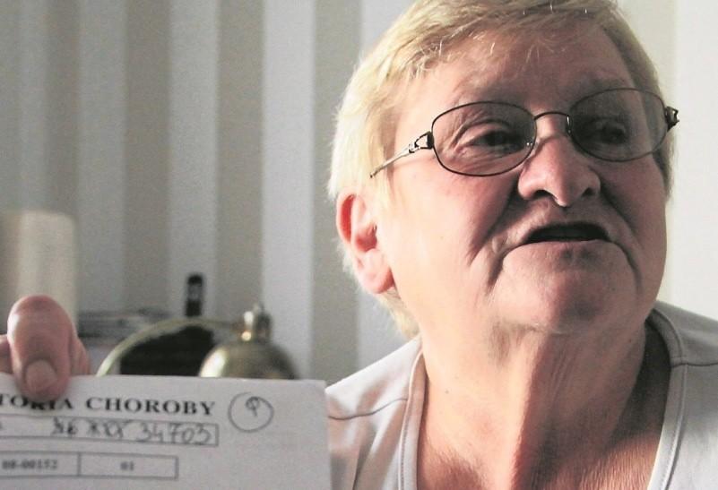 Zofia Gancarz po zabiegu w LORO w Świebodzinie ma niedowład ręki. A jeszcze podczas procesu wyszło, że w szpitalu sfałszowano jej podpis.