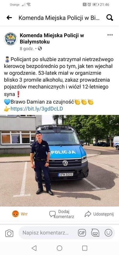 Post Komendy Miejskiej Policji w Białymstoku o interwencji...