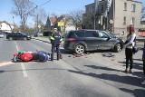 Wypadek na Zakrzowie. Motocyklista ranny [ZDJĘCIA]