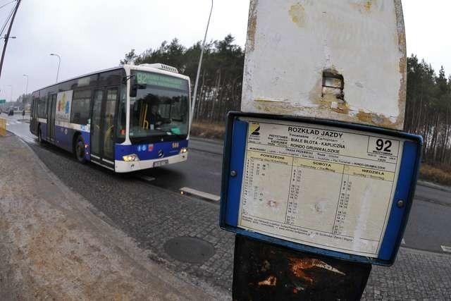 Linia autobusowa 95Linia autobusowa 95, przystanek w Białych-Błotach