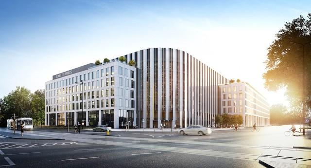 Nowy biurowiec powstaje na skrzyżowaniu ul. Borowskiej i Suchej