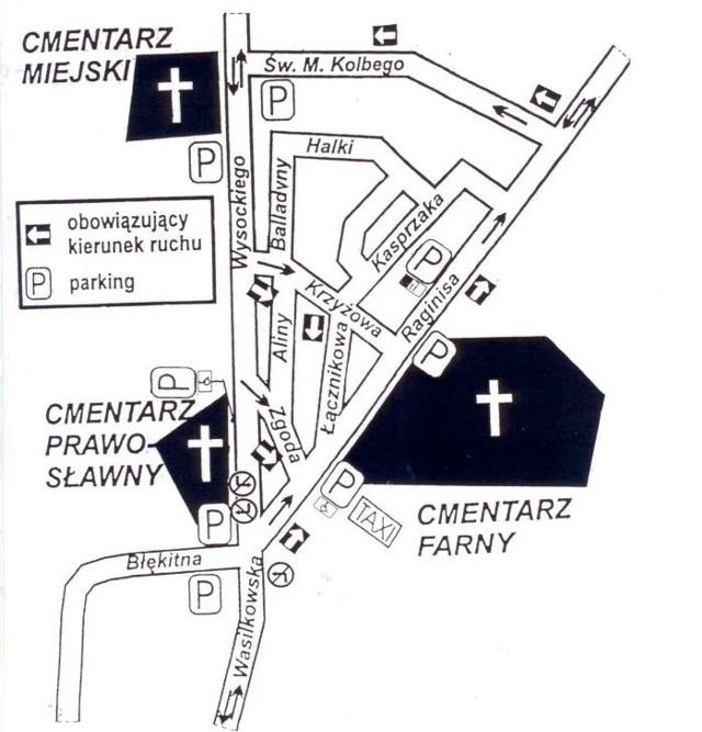 Schemat organizacji ruchu w rejonie białostockich cmentarzy