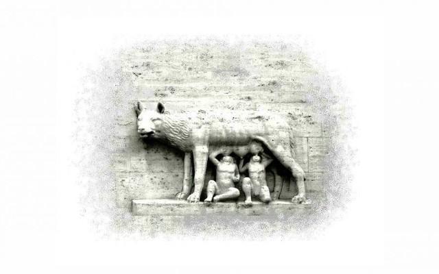 """Na okładce """"Młodych"""" widnieje wilczyca karmiąca Romulusa i Remusa, co symbolicznie oddaje tematykę bydgoskiej opowieści"""