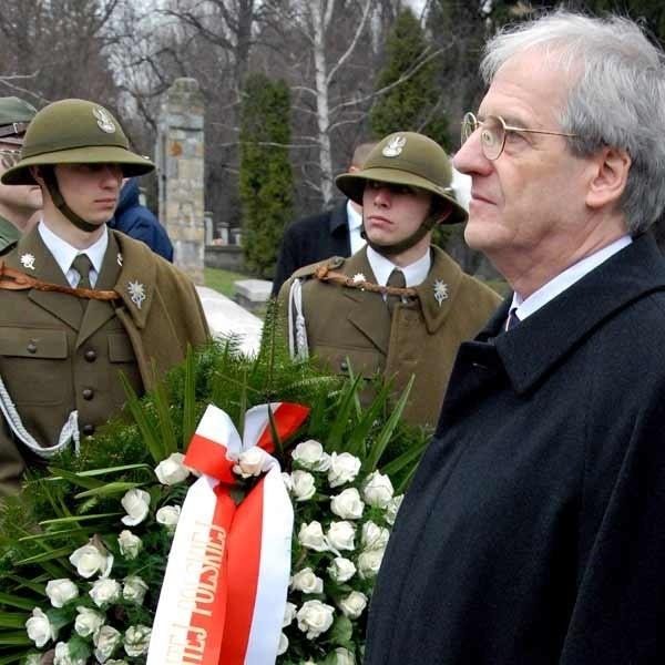 Prezydent Laszlo Solyom na Cmentarzu Austro-Węgierskim w Przemyślu.