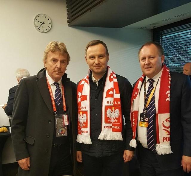 Nowy wiceprzewodniczący Robert Skowron z prezydentem RP, Andrzejem Dudą, i prezesem PZPN - Zbigniewem Bońkiem.
