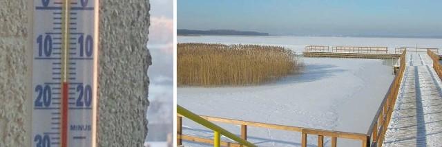 W Koszalinie około godz. 8:15 termometry pokazywały - 15 stopni Celsjusza - napisała Internautka. Po prawej: zima w Jamnie.