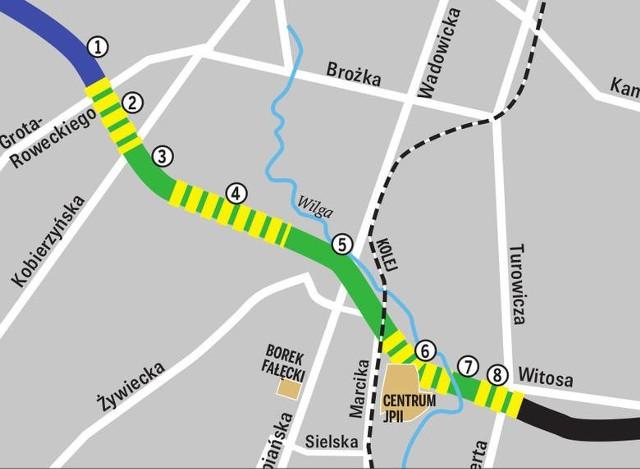 Trasa Łagiewnicka (długość ok. 3,7 km). Odcinki nr 2, 4, 6 i 8  mają przebiegać w tunelach.  Reszta to odcinki naziemne